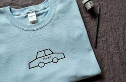 Koszulka ręcznie malowana taxi vintage