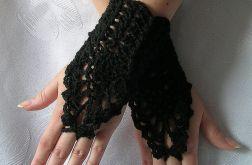 Ażurowe rękawiczki - ozdobne czerń