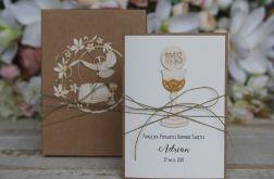 Rustykalna kartka komunijna pudełko 10x15 4