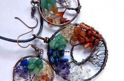 Drzewka z kolorowymi kamieniami, zestaw biżut