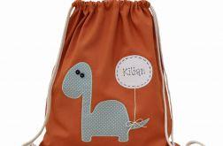 plecak worek dinozaur z imieniem do szkoły