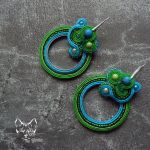 Uroboros- kolczyki sutasz zieleń i turkus