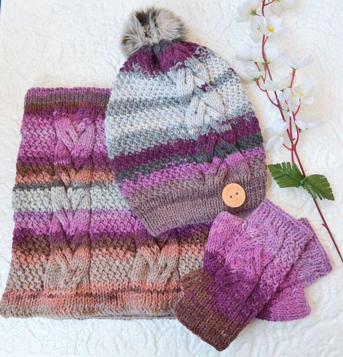 Komplet czapka, komin i mitenki śliwka ,lila
