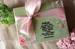 Pudełko na obrączki w zieleni i różu