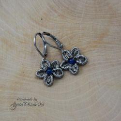 KWIATY kolczyki kwiatki, agat, wire wrapping