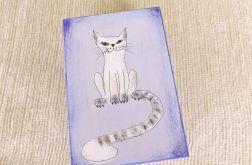 Pudełko malowane śr - Kot w jasnoniebieskim
