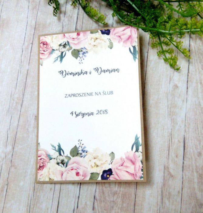 Zaproszenia ślubne rustykalne kwiaty 01