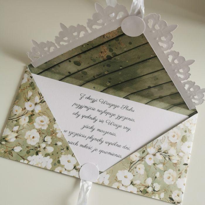 Kartka ślubna kopertowa kopertówka kwiaty - życzenia