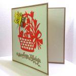 Kartka wielkanocna - czerwony koszyczek - do samodzielnego wypisania