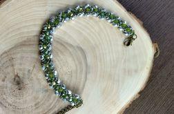 Bransoletka żmijka gruba srebrno-seledynowa