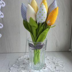 Tulipany z bawełny bukiet żółty Dzień Matki