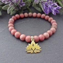 Bransoletka Kwiat Lotosu Rodonit Srebro 925