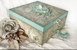 Szkatułka, pudełko vintage z aniołkiem 2
