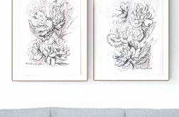Zestaw 2 grafik A4 wykonanych ręcznie kwiaty
