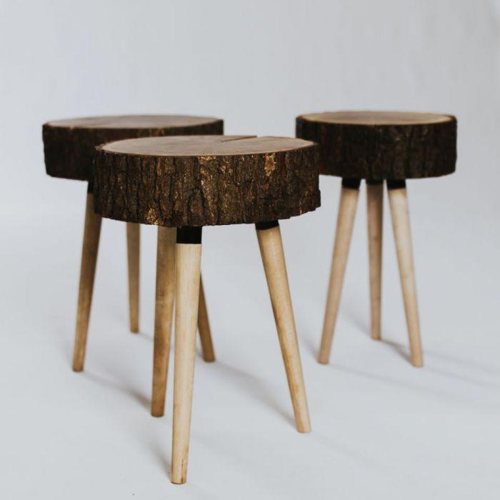 Stołek z plastra drewna, dębowy