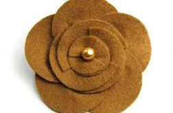 Broszka kwiatek jasny brąz