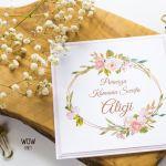 Oryginalne zaproszenie na Komunię kwiaty