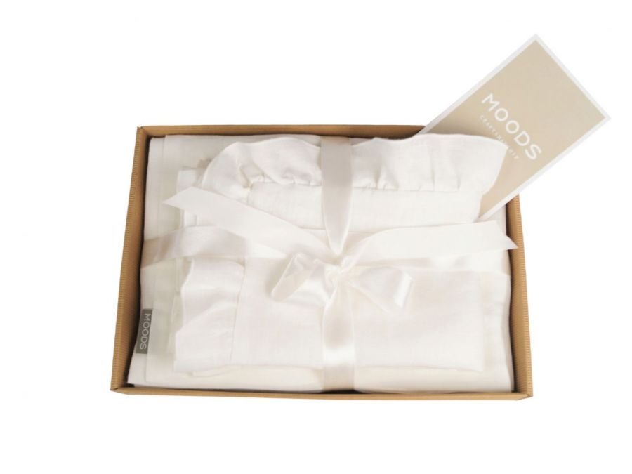 Pościel BABY MOODS - 100 % len biała