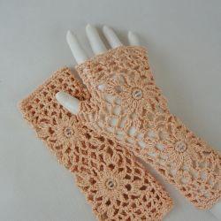 Rękawiczki, mitenki handmade łososiowe