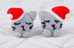 Kolczyki Kot w czapeczce Świętego Mikołaja