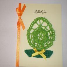 Kartka Wielkanocna z szydełkowym jajem