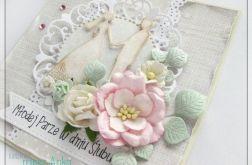 Delikatna kartka na Ślub z kwiatami 5