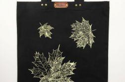 Liście klonu - czarna torba bawełniana