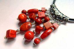 Koral czerwony, efektowny zestaw biżuterii