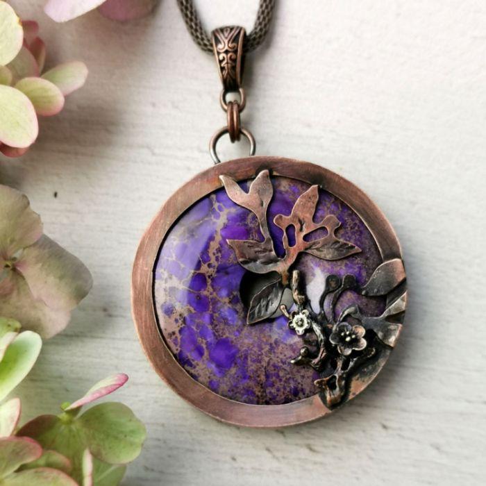Naszyjnik z fioletowym jaspisem c749