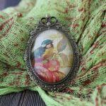 Broszka - medalion 2w1 Ptak Vintage