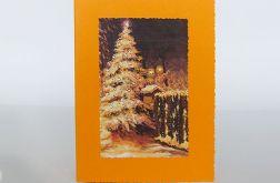 Kartka świąteczna oranż z choinką 3