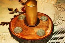 Świecznik drewniany ręcznie robiony na nóżkach-wspaniała dekoracja mieszkania lub ogrodu!