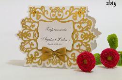 Zaproszenie na ślub z ornamentem kolor złoty