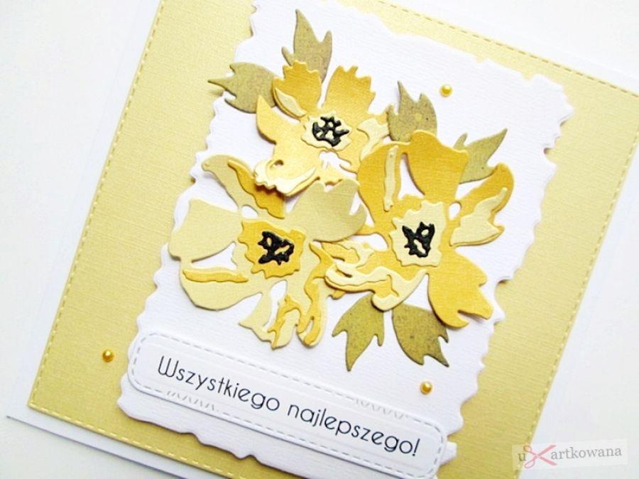 Kartka UNIWERSALNA z żółtymi kwiatami - Żółto-biała kartka na różne okazje