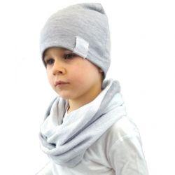 Komplet dla chłopca czapka i komin szary