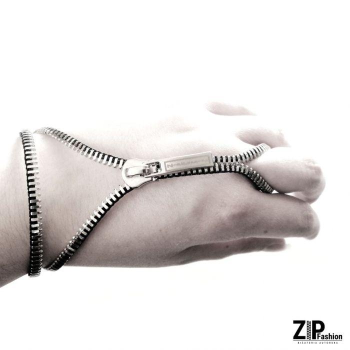 Rockowa bransoletka z pierścionkiem  - Bransoletka zakładana na palec.