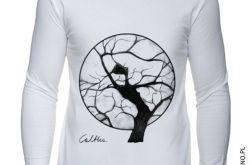 Drzewo - długi rękaw męska - biała