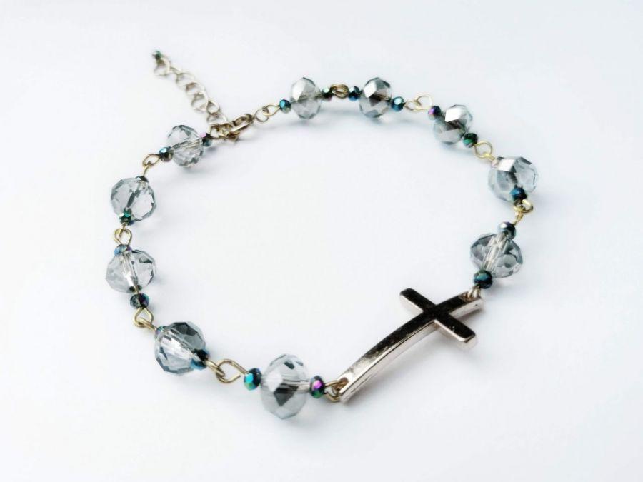 Bransoletka z Krzyżykiem Kryształki Szare