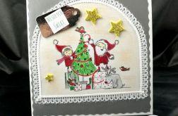 Kartka Mikołaj z pomocnicą przy choince