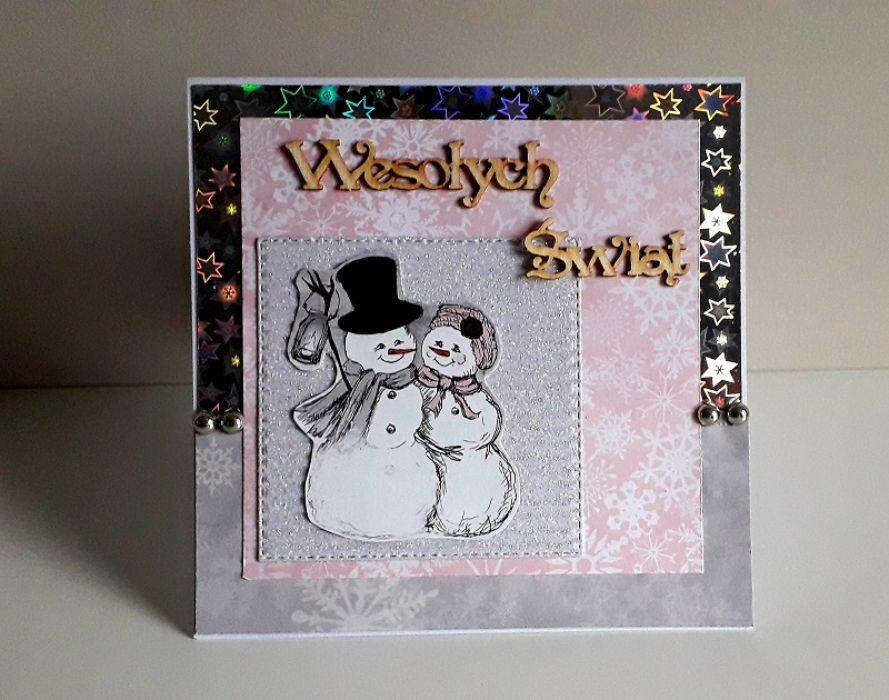 Kartka Boże Narodzenie handmade bałwanki