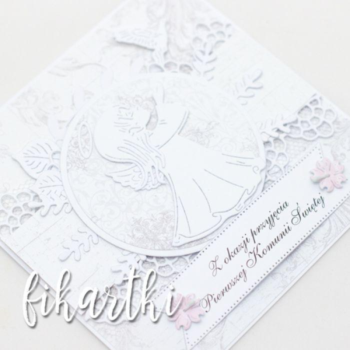 Kartka z aniołkiem na Komunię KK2005 - z aniolkiem