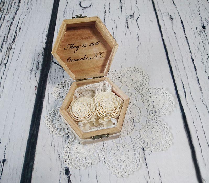 Rustykalne pudełko na obrączki koronka