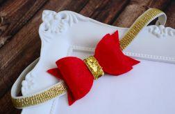 FairyBows OPASKA kokardka czerwona + złoto