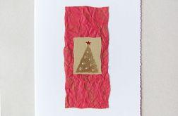 kartka świąteczna bordo i złoto - nr 1