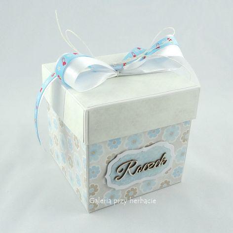 Pudełko, exploding box na roczek dla chłopca
