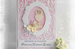 Ażurowe zaproszenia biało różowe