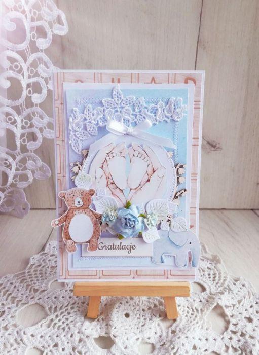 Kartka na narodziny Baby Joy z misiem GOTOWA