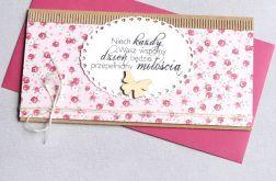 kartka kopertówka - kwiatuszki - sweet pink