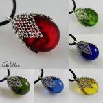 Szklany w siateczce - wisior - Biżuteria - krople