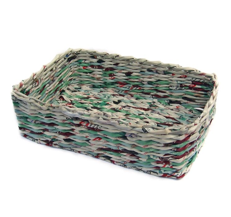 Koszyk prostokątny z turkusem - prostokątny kosz